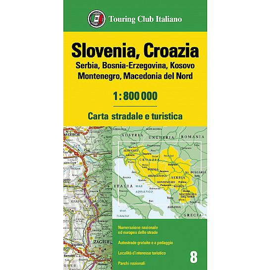 Cartina Stradale Italia Slovenia Croazia.Slovenia Croazia Serbia Bosnia Erzegovina Montenegro Macedonia 1 800 000 Carte Europa 1 800 000 H3358a Touring Editore