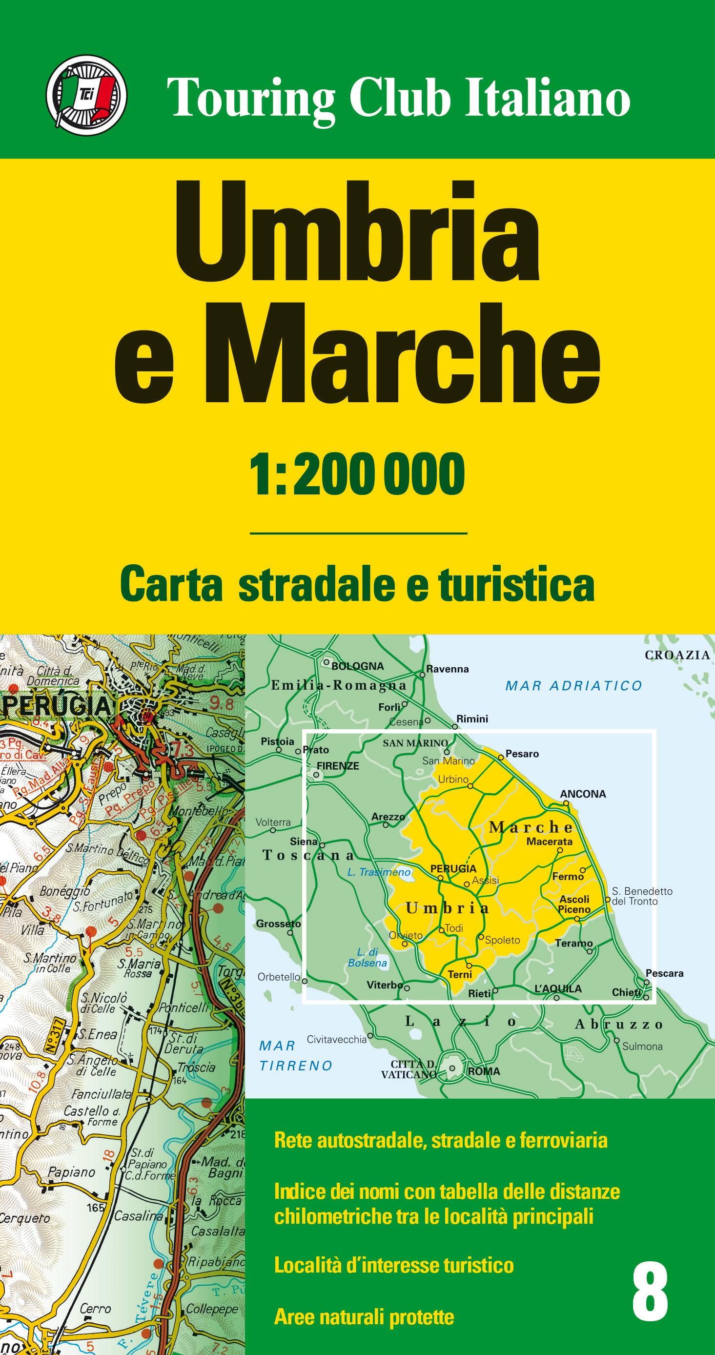 Umbria Cartina Turistica.Umbria E Marche 1 200 000